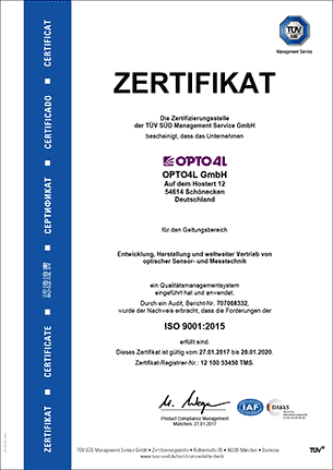 OPTO4L GmbH ISO 9001:2015 Certificate
